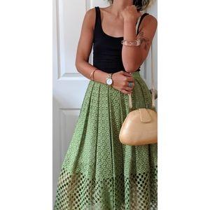 Tibi Green Eyelet Lace Midi Skirt